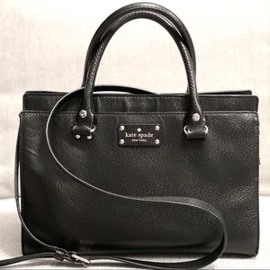 KATE SPADE Black Wellesley Leather Satchel Tote